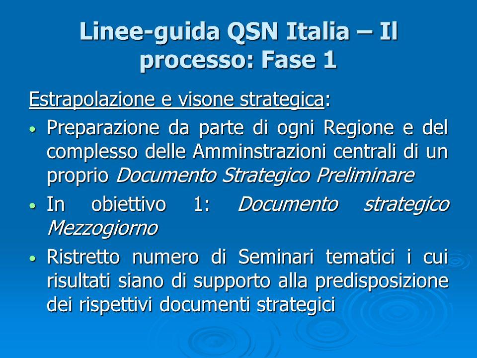 Linee-guida QSN Italia – Il processo: Fase 1 Estrapolazione e visone strategica: Preparazione da parte di ogni Regione e del complesso delle Amminstra