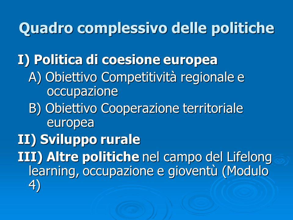 Quadro complessivo delle politiche I) Politica di coesione europea A) Obiettivo Competitività regionale e occupazione B) Obiettivo Cooperazione territ