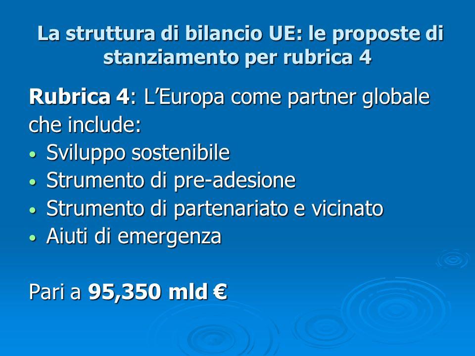 La struttura di bilancio UE: le proposte di stanziamento per rubrica 4 La struttura di bilancio UE: le proposte di stanziamento per rubrica 4 Rubrica
