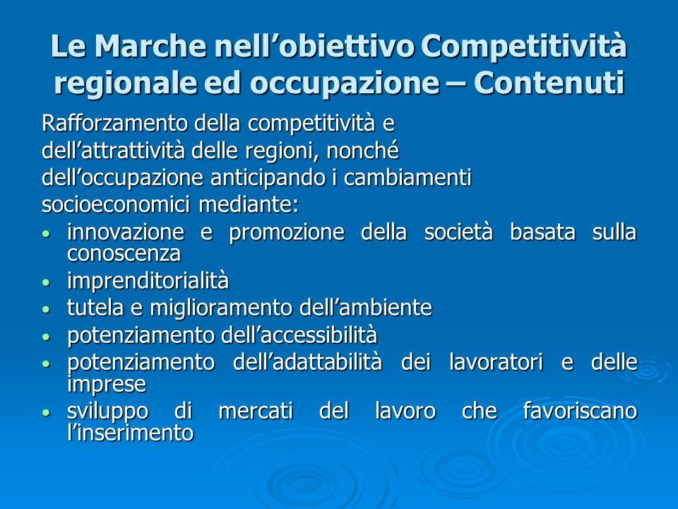 Le Marche nellobiettivo Competitività regionale ed occupazione – Contenuti Rafforzamento della competitività e dellattrattività delle regioni, nonché