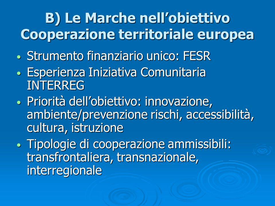 B) Le Marche nellobiettivo Cooperazione territoriale europea Strumento finanziario unico: FESR Strumento finanziario unico: FESR Esperienza Iniziativa