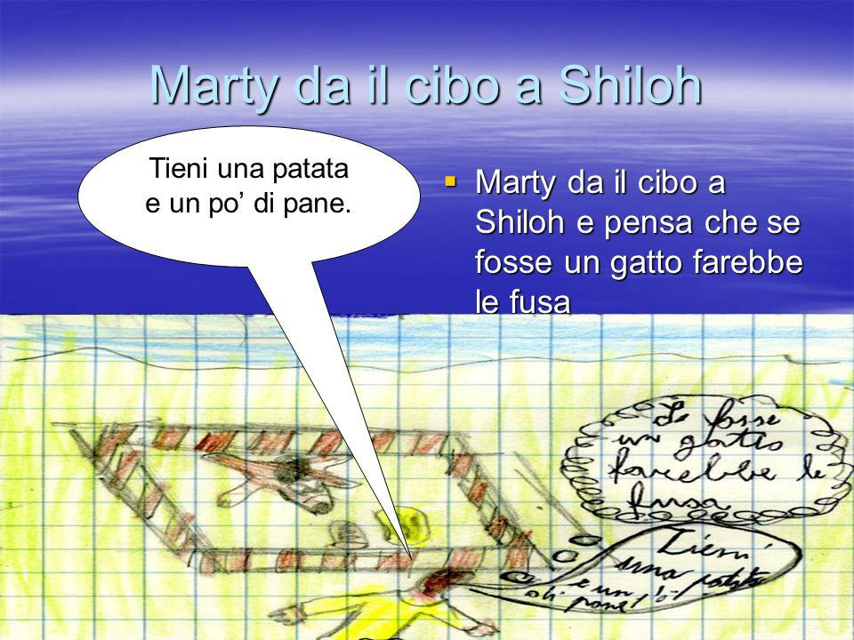 Marty dice a Shiloh cosa faranno domani Marty dice a Shiloh che domani tornerà con un guinzaglio e correranno in sieme.