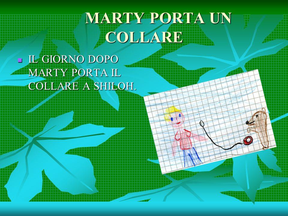 MARTY PORTA UN COLLARE IL GIORNO DOPO MARTY PORTA IL COLLARE A SHILOH. IL GIORNO DOPO MARTY PORTA IL COLLARE A SHILOH.