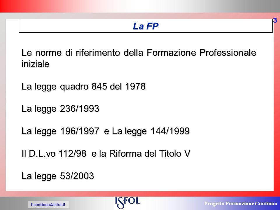 Progetto Formazione Continua f.continua@isfol.it 3 Le norme di riferimento della Formazione Professionale iniziale La legge quadro 845 del 1978 La legge 236/1993 La legge 196/1997 e La legge 144/1999 Il D.L.vo 112/98 e la Riforma del Titolo V La legge 53/2003 La FP