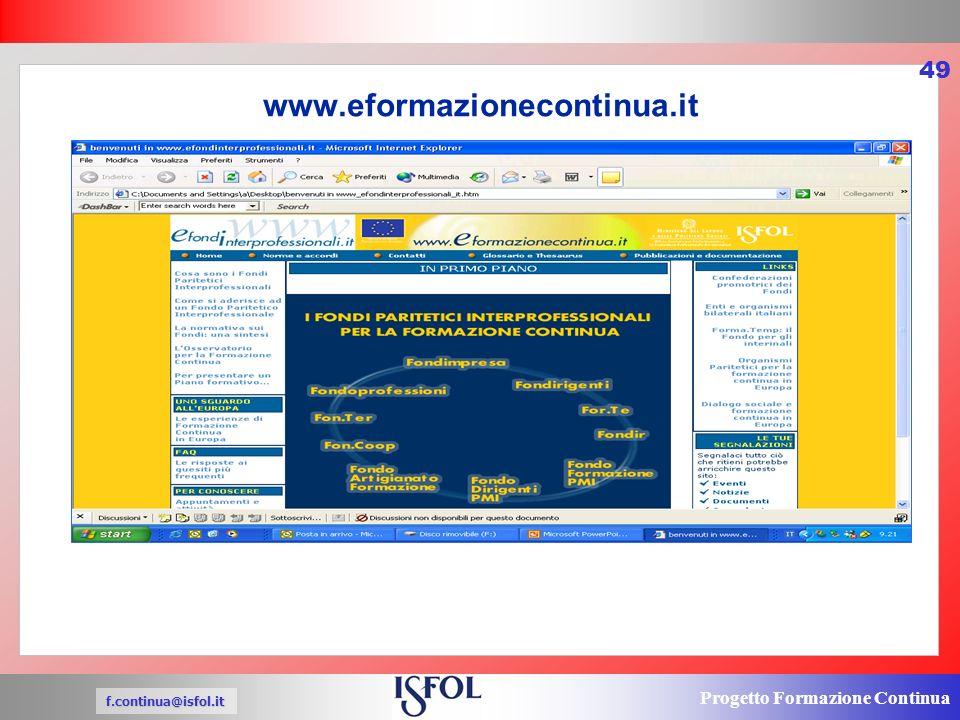 Progetto Formazione Continua f.continua@isfol.it 49 www.eformazionecontinua.it