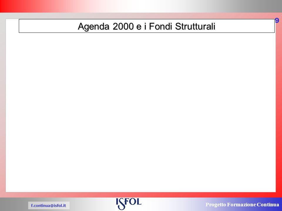 Progetto Formazione Continua f.continua@isfol.it 9 Agenda 2000 e i Fondi Strutturali