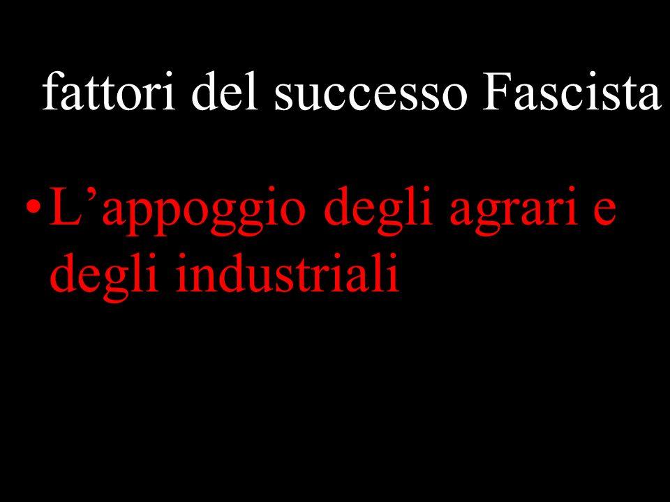 I fattori del successo Fascista Lappoggio degli agrari e degli industriali