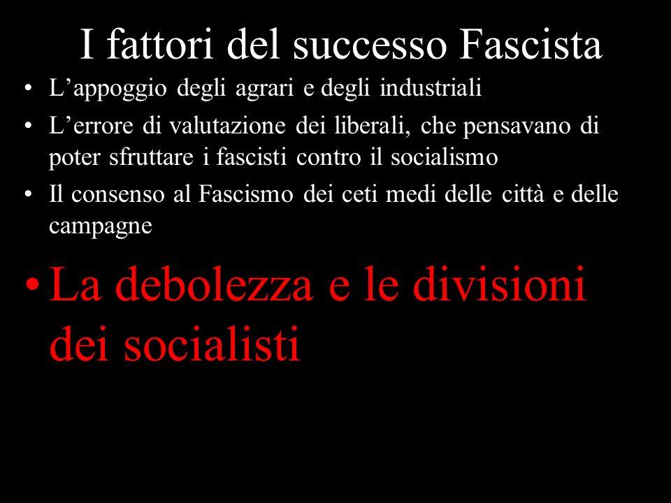 I fattori del successo Fascista Lappoggio degli agrari e degli industriali Lerrore di valutazione dei liberali, che pensavano di poter sfruttare i fas