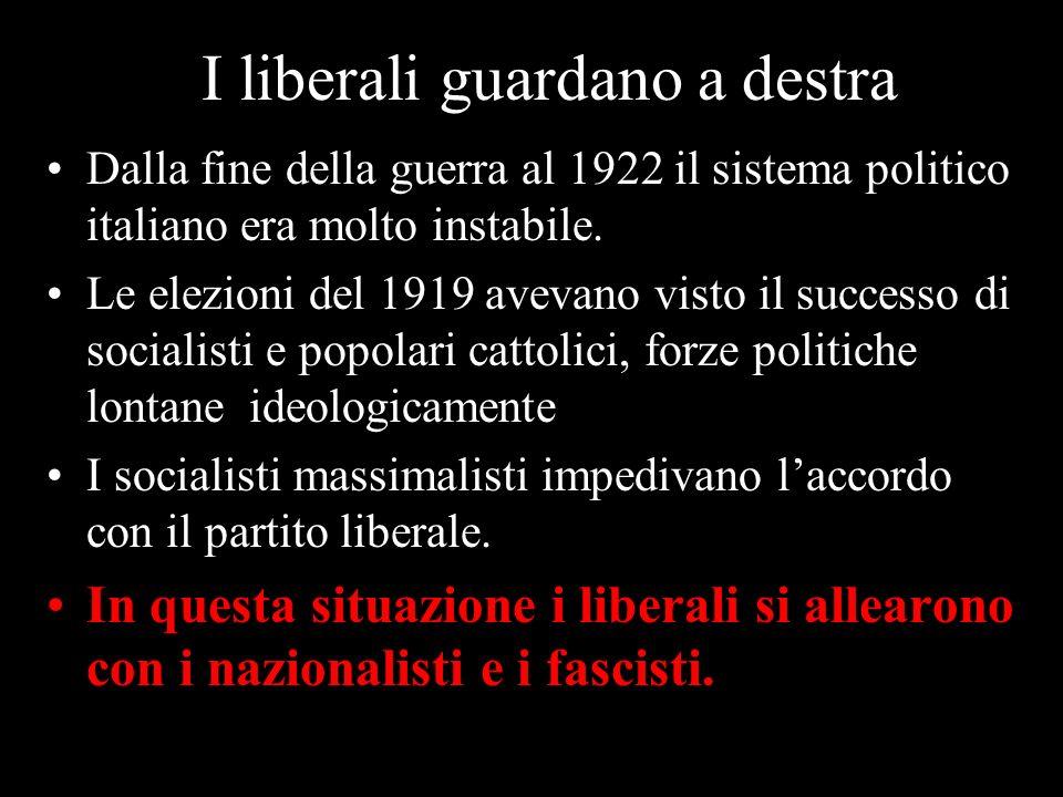I liberali guardano a destra Dalla fine della guerra al 1922 il sistema politico italiano era molto instabile. Le elezioni del 1919 avevano visto il s
