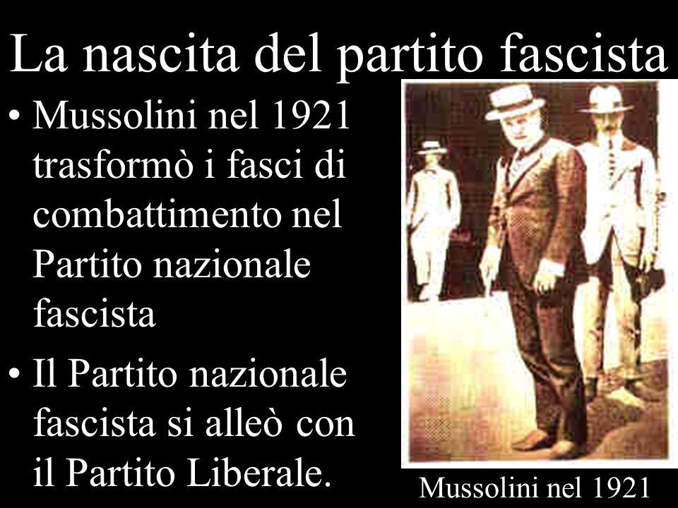 La nascita del partito fascista Mussolini nel 1921 trasformò i fasci di combattimento nel Partito nazionale fascista Il Partito nazionale fascista si