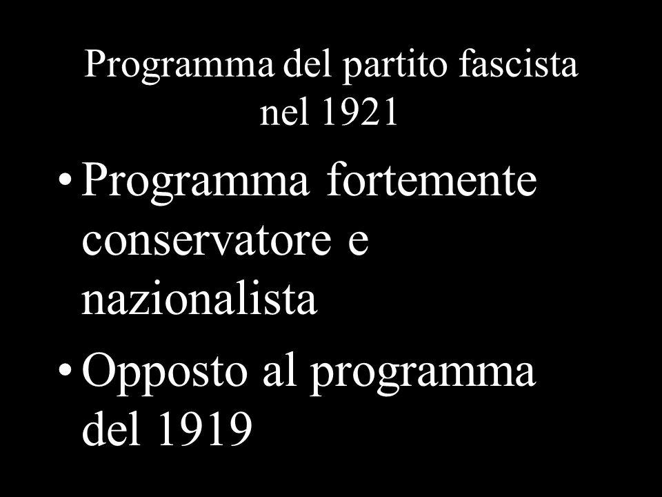 Programma del partito fascista nel 1921 Programma fortemente conservatore e nazionalista Opposto al programma del 1919