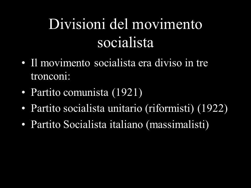 Divisioni del movimento socialista Il movimento socialista era diviso in tre tronconi: Partito comunista (1921) Partito socialista unitario (riformist