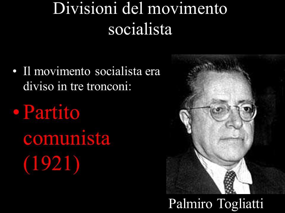 Divisioni del movimento socialista Il movimento socialista era diviso in tre tronconi: Partito comunista (1921) Palmiro Togliatti