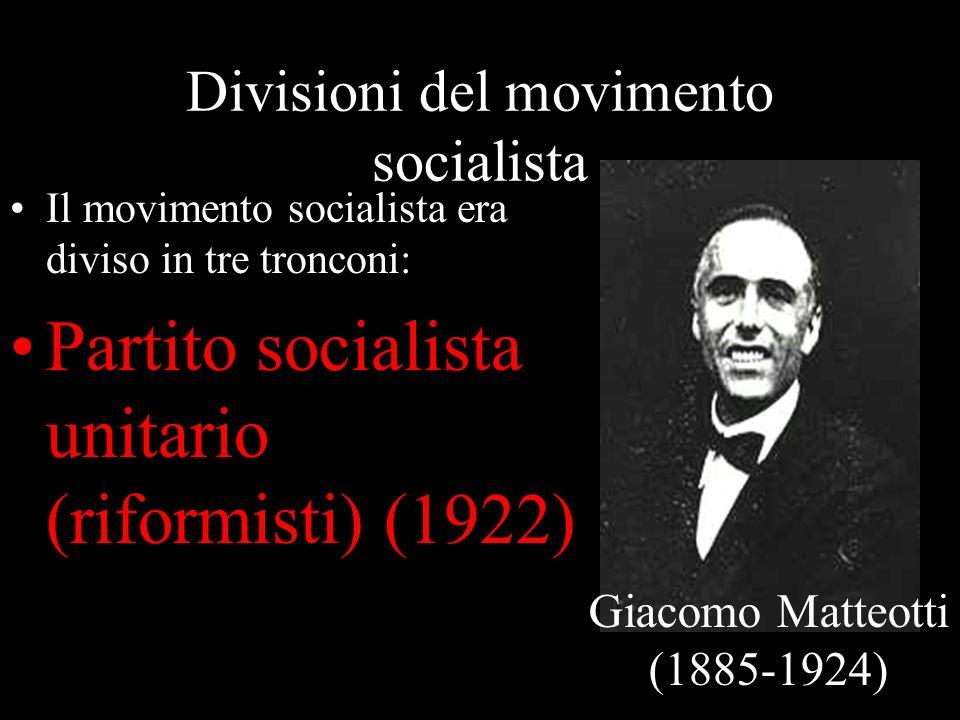 Divisioni del movimento socialista Il movimento socialista era diviso in tre tronconi: Partito socialista unitario (riformisti) (1922) Giacomo Matteot