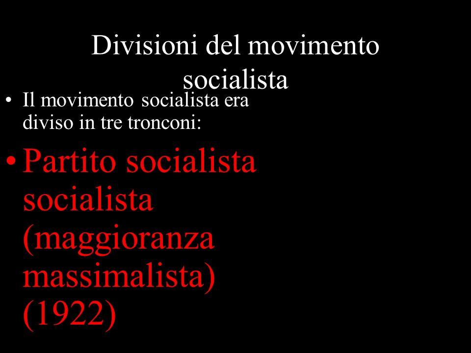 Divisioni del movimento socialista Il movimento socialista era diviso in tre tronconi: Partito socialista socialista (maggioranza massimalista) (1922)
