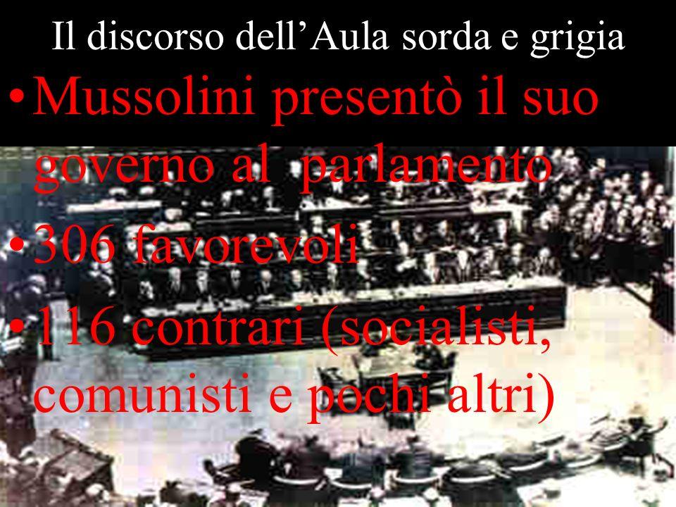 Il discorso dellAula sorda e grigia Mussolini presentò il suo governo al parlamento 306 favorevoli 116 contrari (socialisti, comunisti e pochi altri)