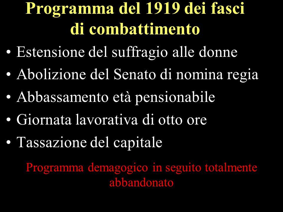 Programma del 1919 dei fasci di combattimento Estensione del suffragio alle donne Abolizione del Senato di nomina regia Abbassamento età pensionabile