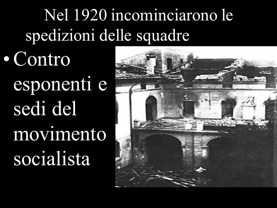 Nel 1920 incominciarono le spedizioni delle squadre dazione Contro esponenti e sedi del movimento socialista Sede cooperativa bruciata Ravenna