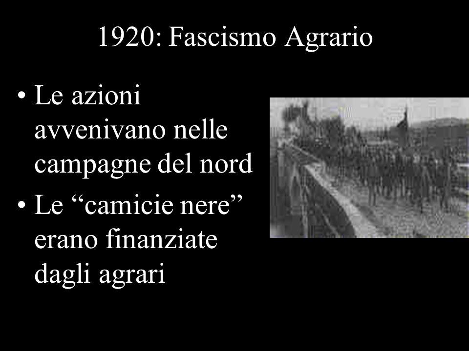 1920: Fascismo Agrario Le azioni avvenivano nelle campagne del nord Le camicie nere erano finanziate dagli agrari