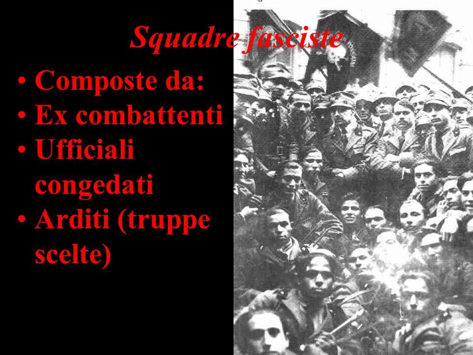 Squadre fasciste Composte da: Ex combattenti Ufficiali congedati Arditi (truppe scelte)