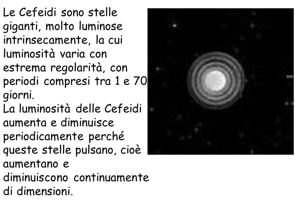 Le Cefeidi sono stelle giganti, molto luminose intrinsecamente, la cui luminosità varia con estrema regolarità, con periodi compresi tra 1 e 70 giorni