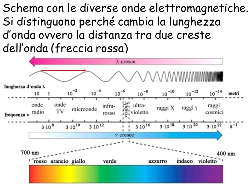 Schema con le diverse onde elettromagnetiche. Si distinguono perché cambia la lunghezza donda ovvero la distanza tra due creste dellonda (freccia ross