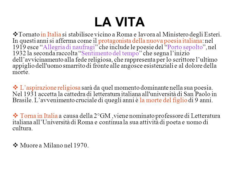 LA VITA Tornato in Italia si stabilisce vicino a Roma e lavora al Ministero degli Esteri. In questi anni si afferma come il protagonista della nuova p