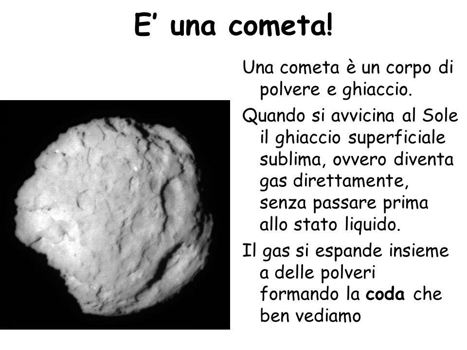 E una cometa! Una cometa è un corpo di polvere e ghiaccio. Quando si avvicina al Sole il ghiaccio superficiale sublima, ovvero diventa gas direttament