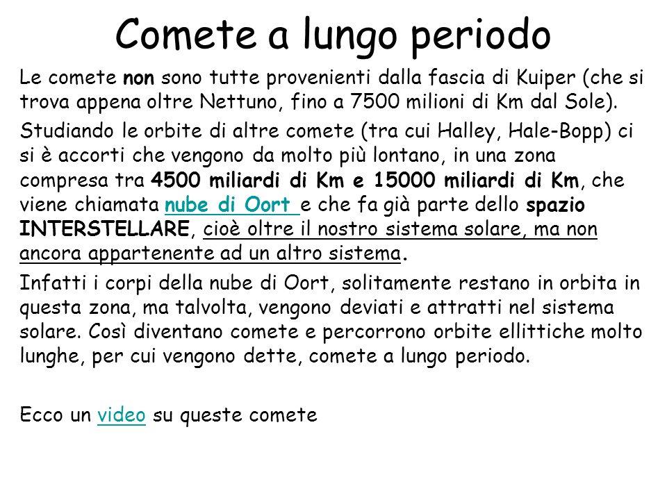 Comete a lungo periodo Le comete non sono tutte provenienti dalla fascia di Kuiper (che si trova appena oltre Nettuno, fino a 7500 milioni di Km dal S