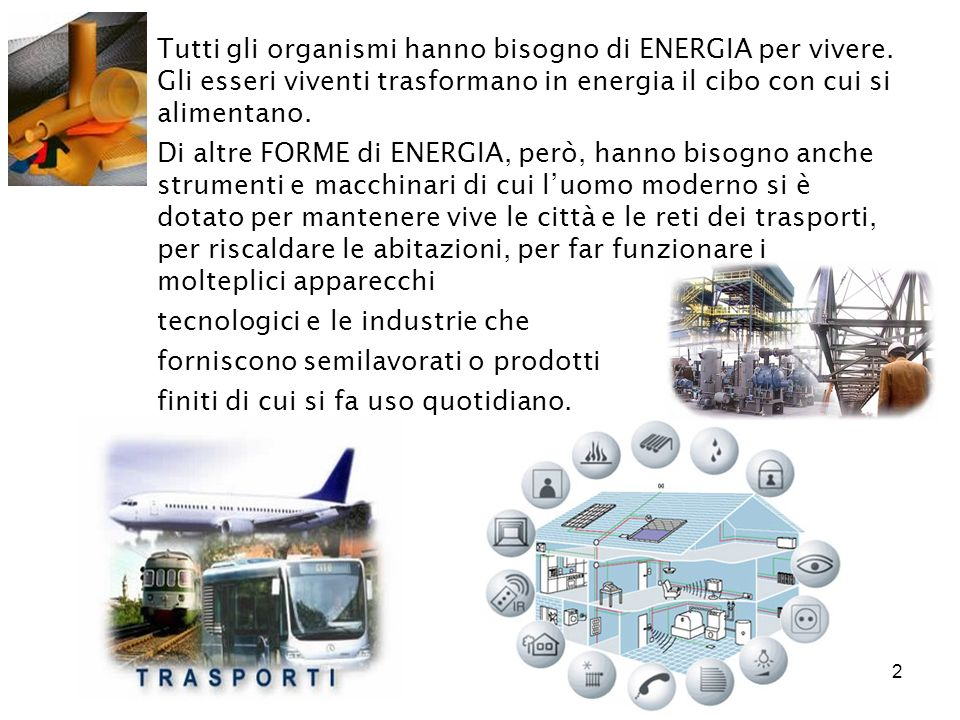 2 Tutti gli organismi hanno bisogno di ENERGIA per vivere. Gli esseri viventi trasformano in energia il cibo con cui si alimentano. Di altre FORME di
