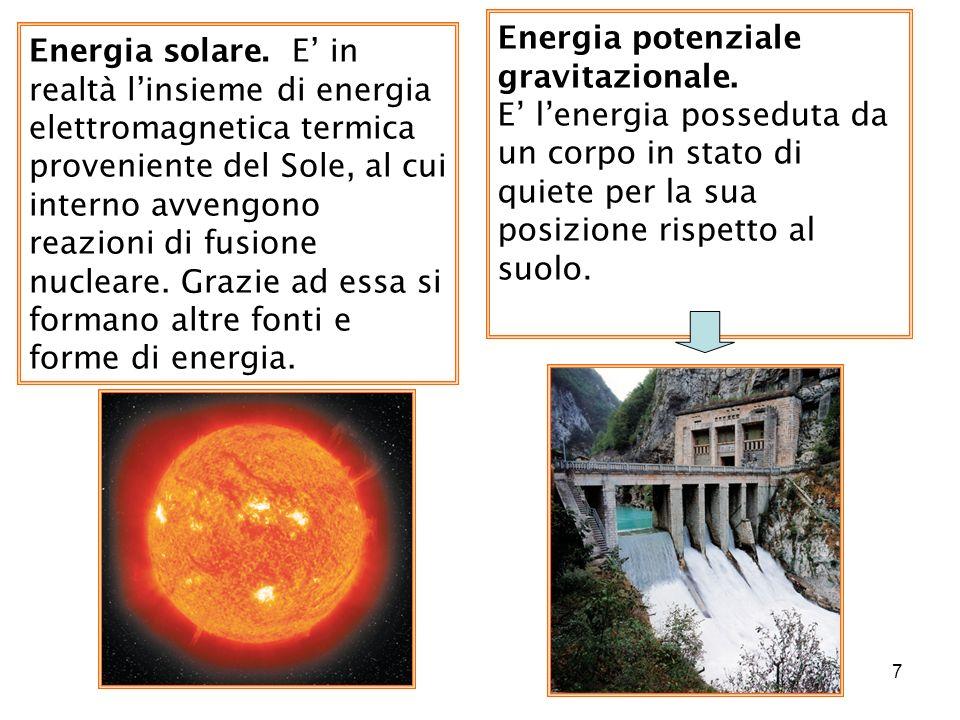 7 Energia solare. E in realtà linsieme di energia elettromagnetica termica proveniente del Sole, al cui interno avvengono reazioni di fusione nucleare