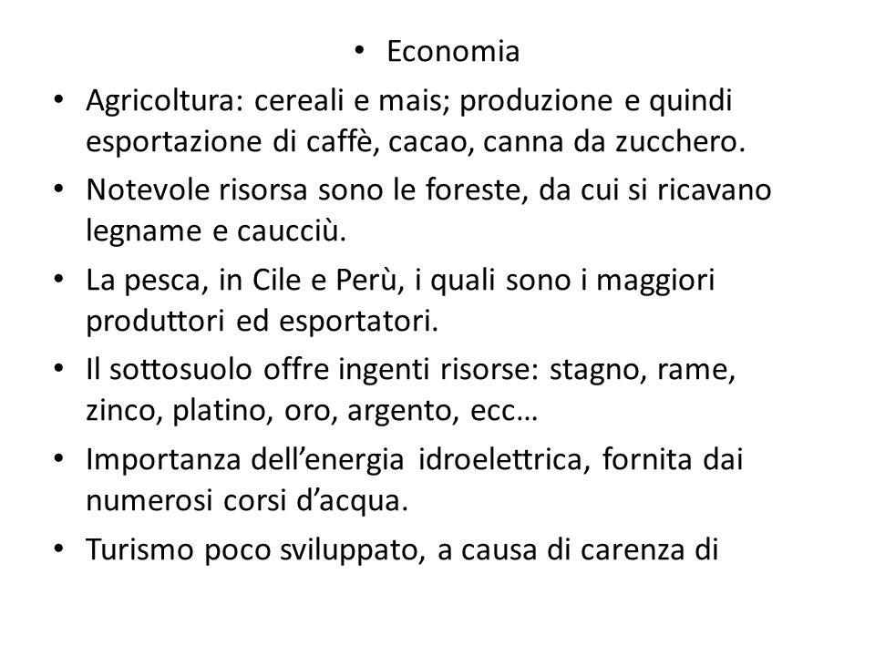Economia Agricoltura: cereali e mais; produzione e quindi esportazione di caffè, cacao, canna da zucchero. Notevole risorsa sono le foreste, da cui si