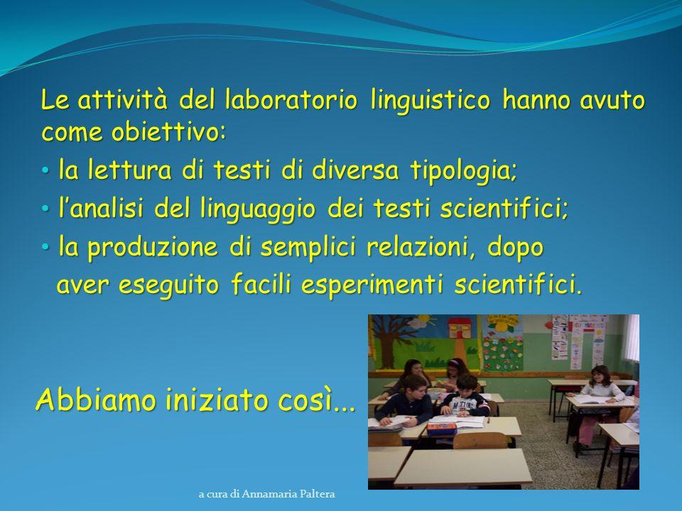 a cura di Annamaria Paltera Le attività del laboratorio linguistico hanno avuto come obiettivo: la lettura di testi di diversa tipologia; la lettura d