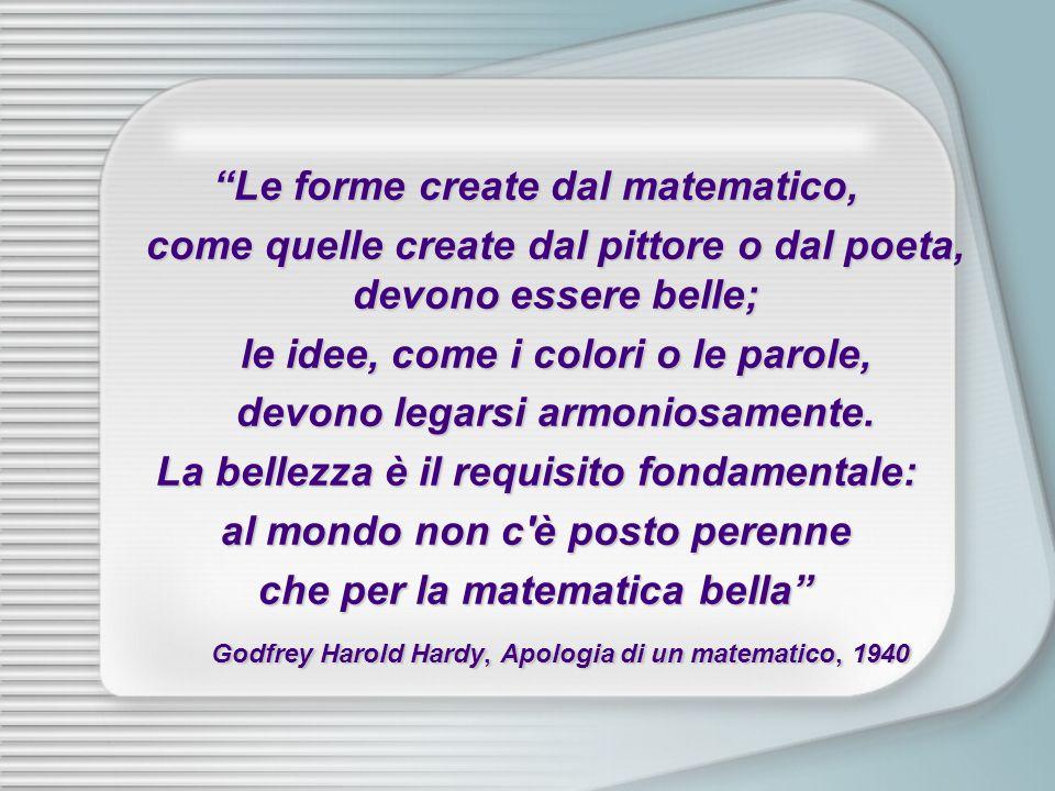 Le forme create dal matematico, come quelle create dal pittore o dal poeta, devono essere belle; le idee, come i colori o le parole, devono legarsi ar