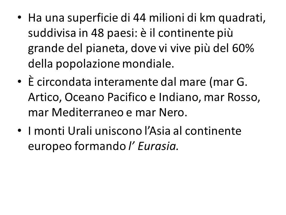 Ha una superficie di 44 milioni di km quadrati, suddivisa in 48 paesi: è il continente più grande del pianeta, dove vi vive più del 60% della popolazi