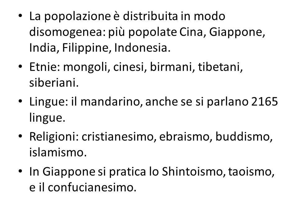 La popolazione è distribuita in modo disomogenea: più popolate Cina, Giappone, India, Filippine, Indonesia. Etnie: mongoli, cinesi, birmani, tibetani,
