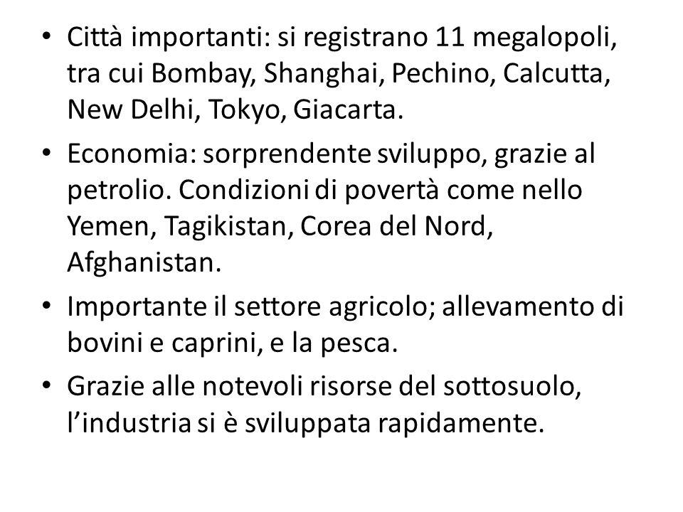 Città importanti: si registrano 11 megalopoli, tra cui Bombay, Shanghai, Pechino, Calcutta, New Delhi, Tokyo, Giacarta. Economia: sorprendente svilupp