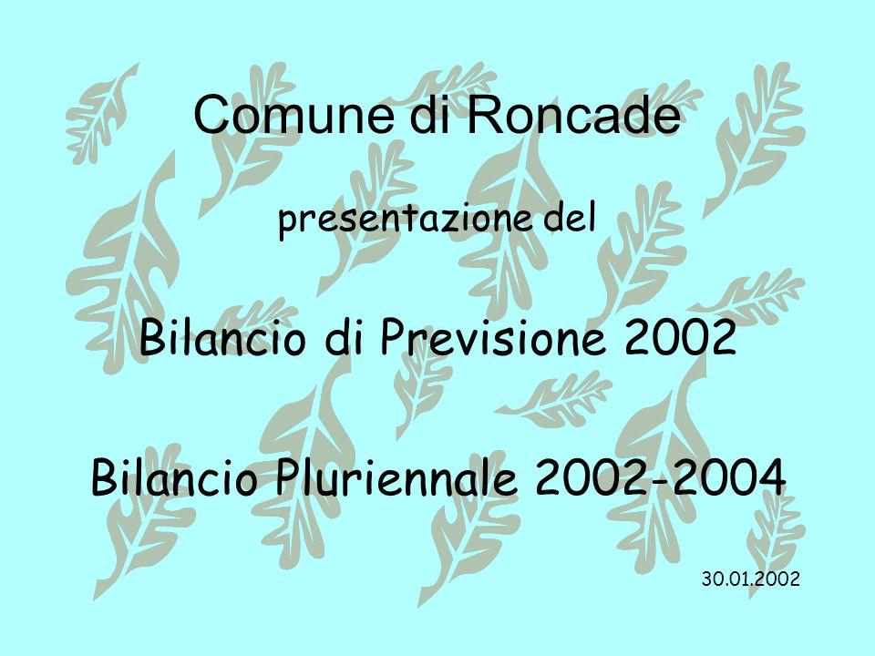 Comune di Roncade presentazione del Bilancio di Previsione 2002 Bilancio Pluriennale 2002-2004 30.01.2002