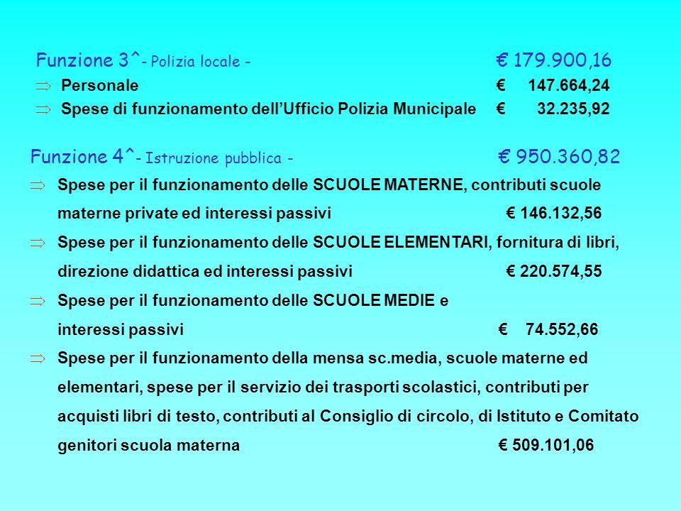 Funzione 3^ - Polizia locale - 179.900,16 Personale 147.664,24 Spese di funzionamento dellUfficio Polizia Municipale 32.235,92 Funzione 4^ - Istruzion