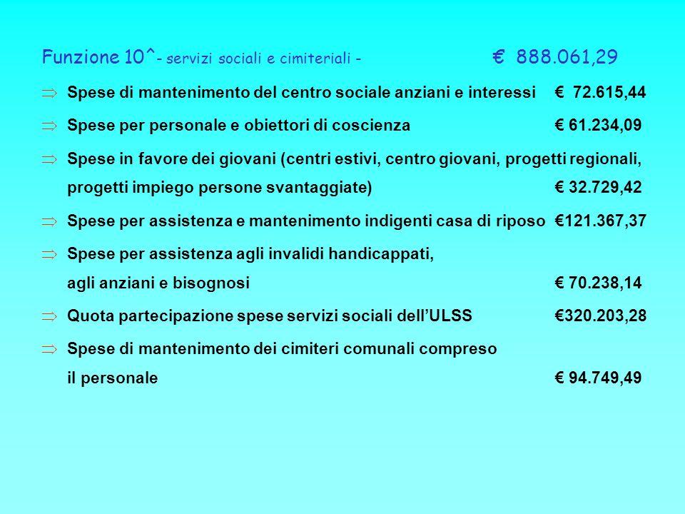 Funzione 10^ - servizi sociali e cimiteriali - 888.061,29 Spese di mantenimento del centro sociale anziani e interessi 72.615,44 Spese per personale e