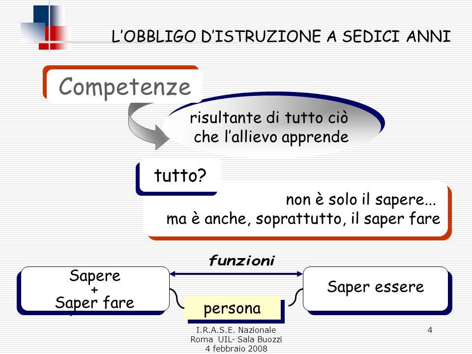 I.R.A.S.E. Nazionale Roma UIL- Sala Buozzi 4 febbraio 2008 4 non è solo il sapere...