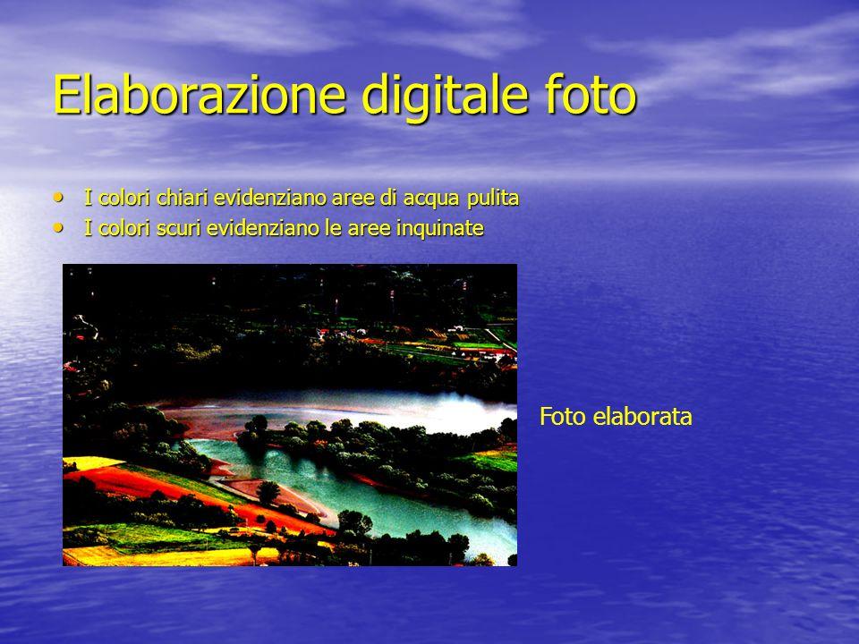Elaborazione digitale foto I colori chiari evidenziano aree di acqua pulita I colori chiari evidenziano aree di acqua pulita I colori scuri evidenzian