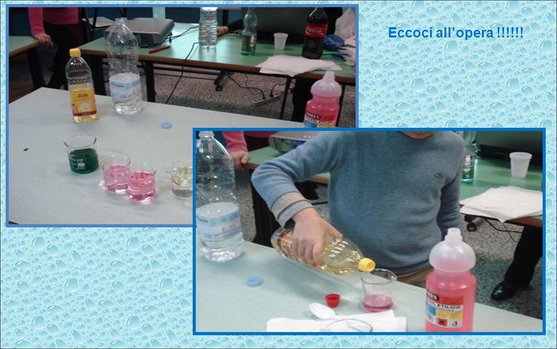 a cura di Rosanna Tremamunno Abbiamo provato con altri liquidi : Acqua e olio Acqua e sciroppo di menta Acqua e alcool Acqua olio e alcool …….