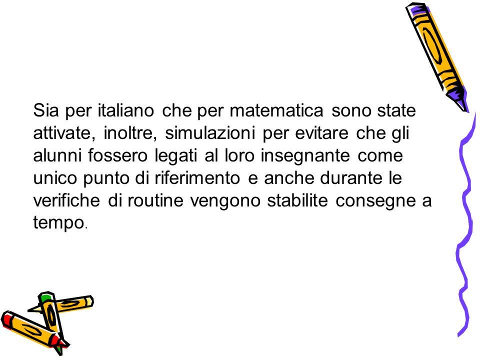 Sia per italiano che per matematica sono state attivate, inoltre, simulazioni per evitare che gli alunni fossero legati al loro insegnante come unico
