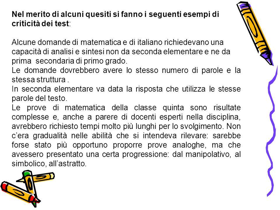 Nel merito di alcuni quesiti si fanno i seguenti esempi di criticità dei test: Alcune domande di matematica e di italiano richiedevano una capacità di