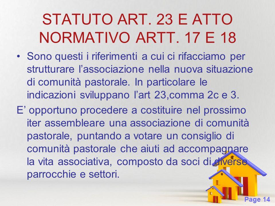 Page 14 STATUTO ART. 23 E ATTO NORMATIVO ARTT.