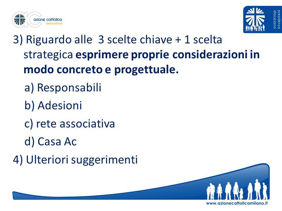 3) Riguardo alle 3 scelte chiave + 1 scelta strategica esprimere proprie considerazioni in modo concreto e progettuale.