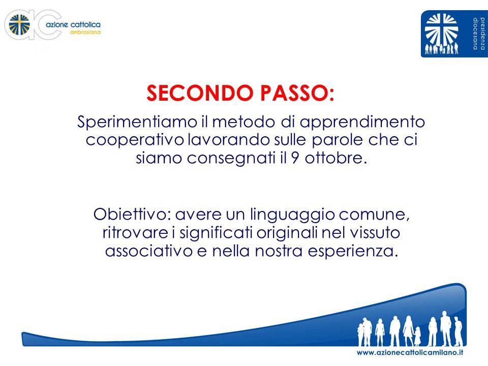 SECONDO PASSO: Sperimentiamo il metodo di apprendimento cooperativo lavorando sulle parole che ci siamo consegnati il 9 ottobre.