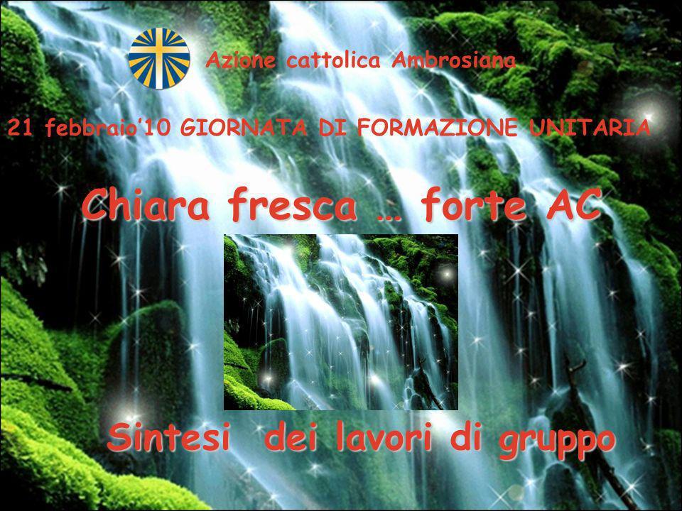 Azione cattolica Ambrosiana Chiara fresca … forte AC 21 febbraio10 GIORNATA DI FORMAZIONE UNITARIA Sintesi dei lavori di gruppo