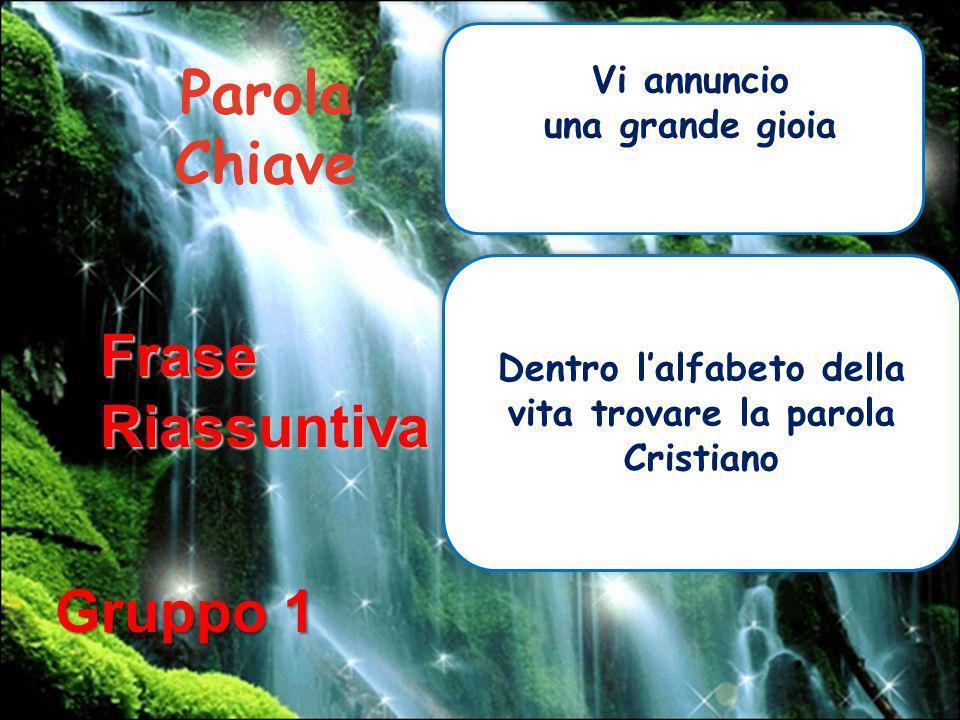 Parola Chiave Vi annuncio una grande gioia FraseRiassuntiva Dentro lalfabeto della vita trovare la parola Cristiano Gruppo 1